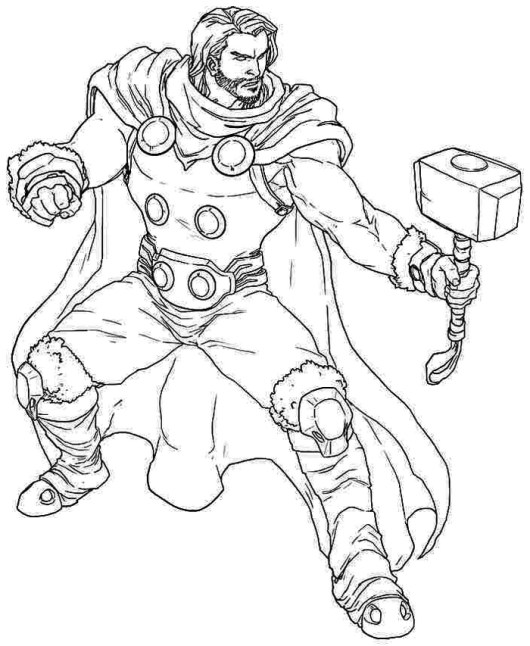 Thor Superhero Coloring Pages Printable