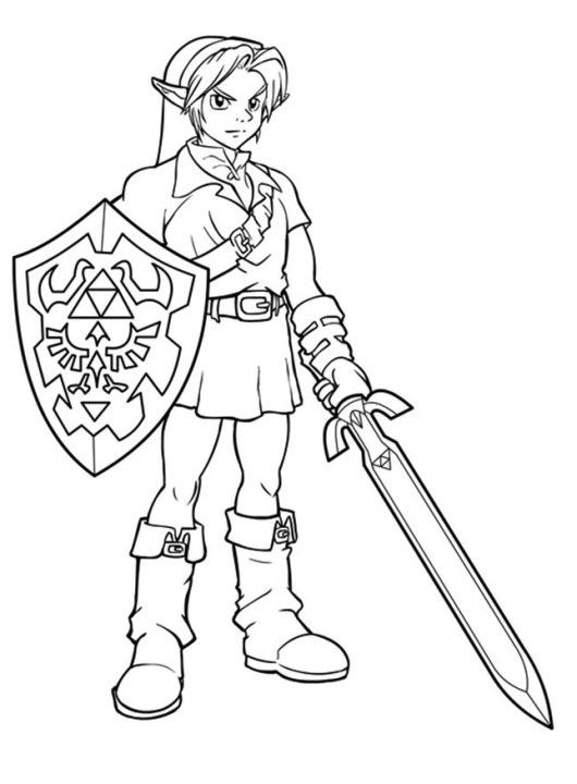 Awesome Link Zelda Coloring Pages