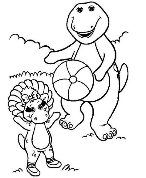 Barney And Friends Play Ball Coloring Pages