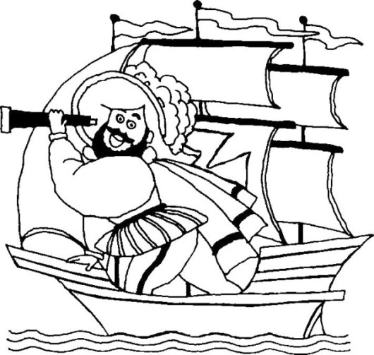 Happy Columbus Day Cartoon Coloring Page