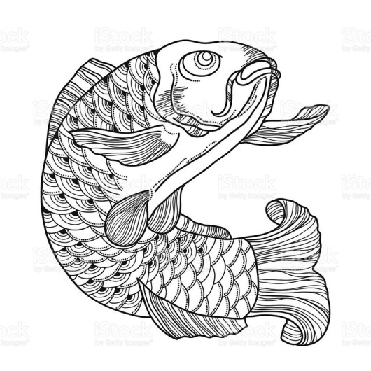 Koi Carp Fish Coloring Pages