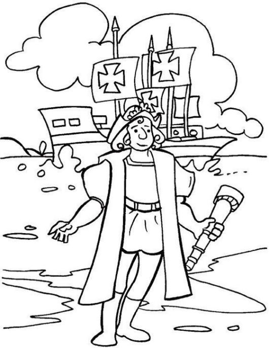 Columbus Arrival Coloring Pages