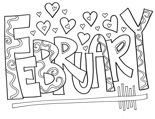 February Month of the Year Coloring Picture