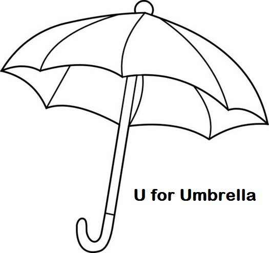 Letter U For Umbrella Coloring Page