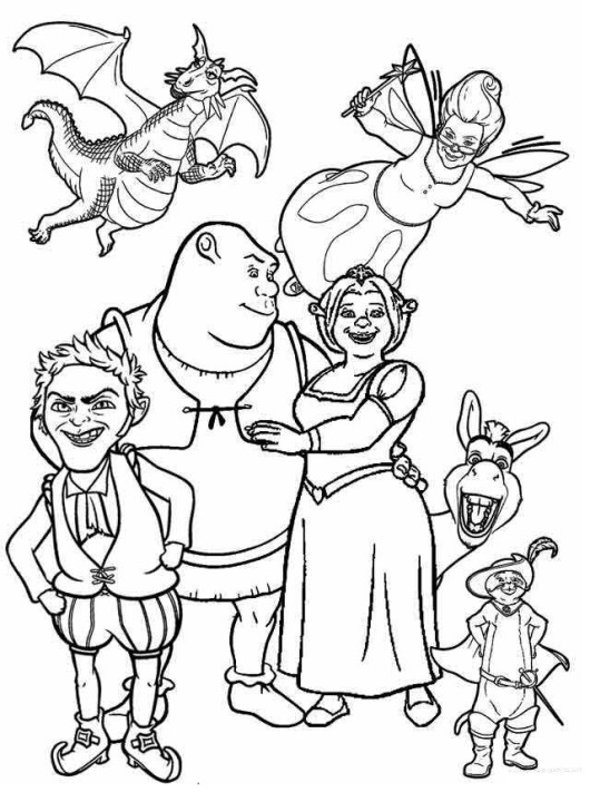 shrek fiona and friends coloring page - Shrek Coloring Pages