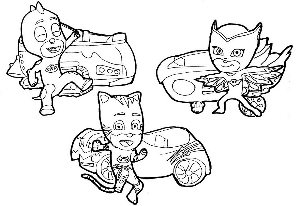 Catboy Owlette And Gekko Coloring Pages Pj Masks Printable