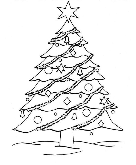 christmas tree coloring and drawing page