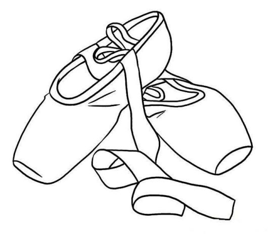 Printable Pointe Ballet Shoes Coloring Sheet
