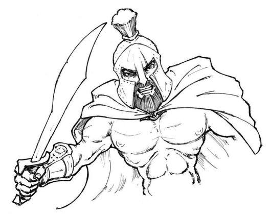 Spartan Clip Art Coloring Page