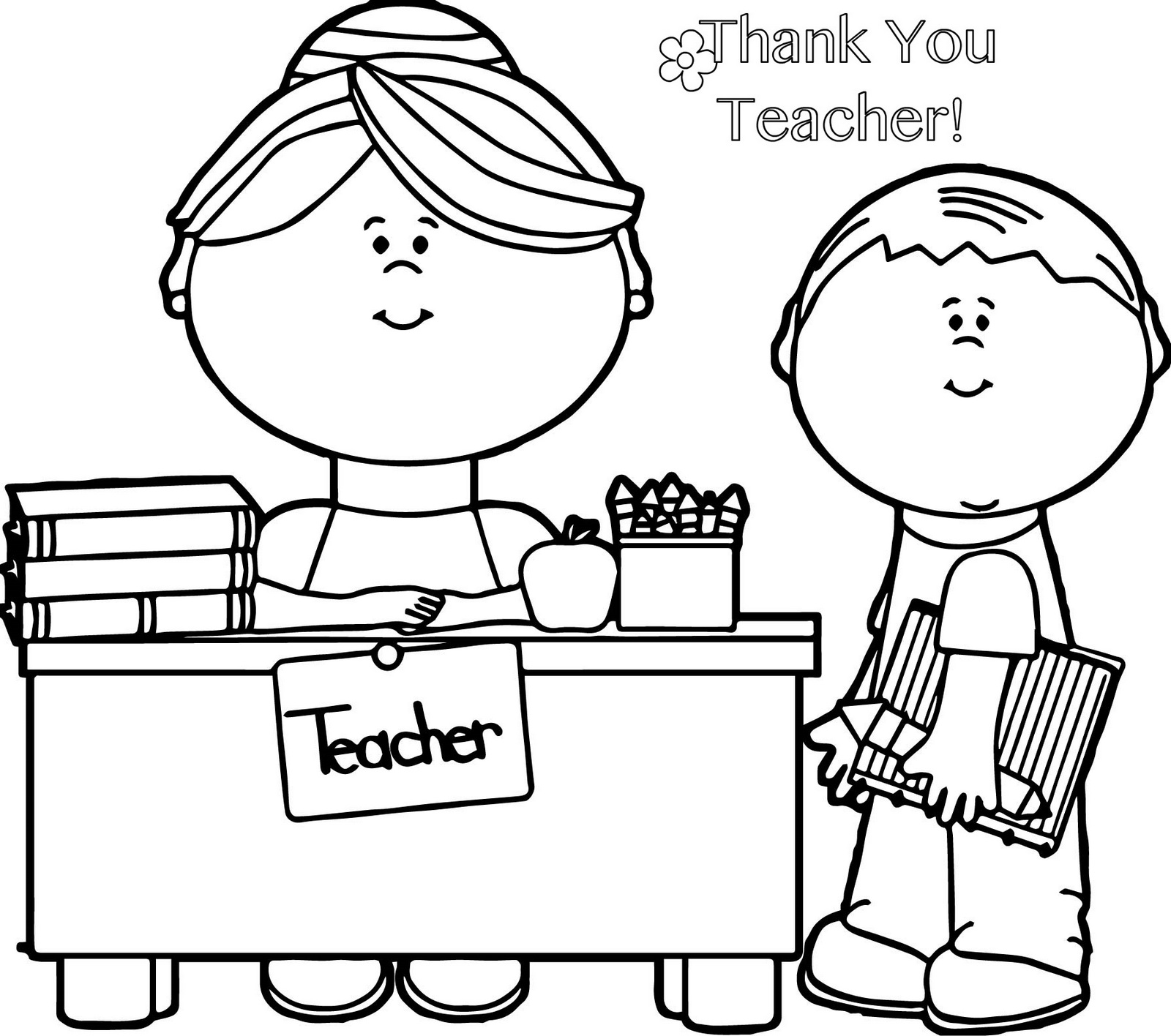 Thank You Teacher Coloring Page For Teacher Gifts