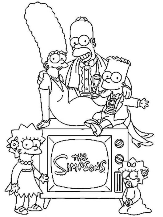 the simpsons coloring sheet for kids