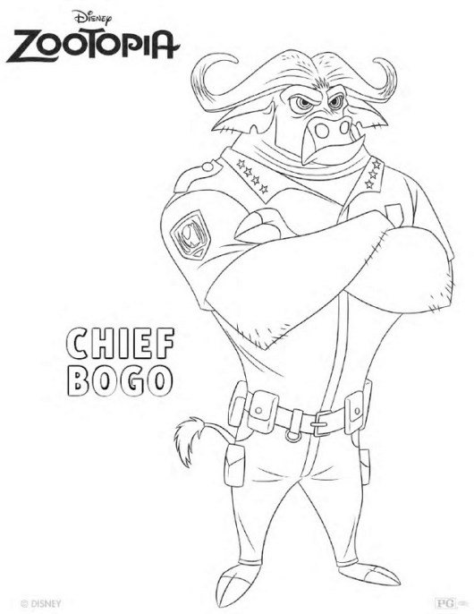 Chief Bogo from Zootopia Disney coloring picture