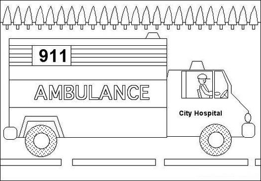 ambulance transportation coloring picture