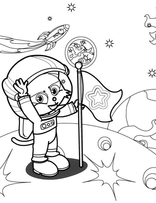 Little and Realistic Astronaut Coloring Pages - Coloring Pages