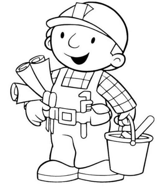 bob the builder as an architect coloring sheet