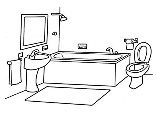 modern and clean bathroom coloring page
