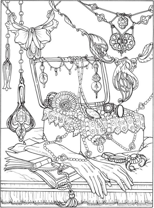 jewelry in box coloring sheet