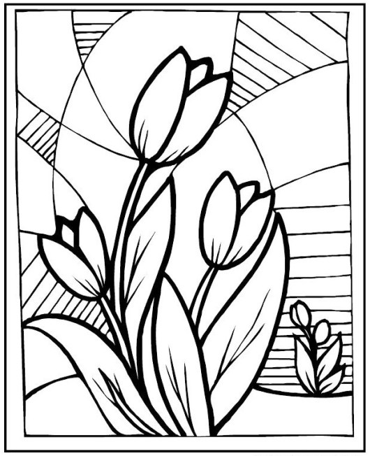 stained glass flowers tulip coloring picture