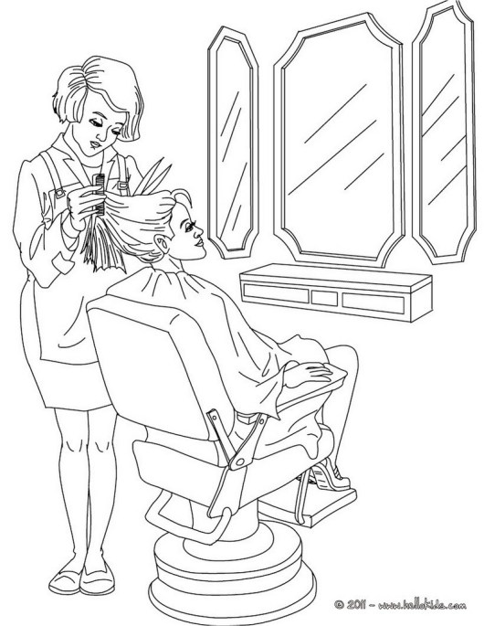 stylist hairdresser coloring page