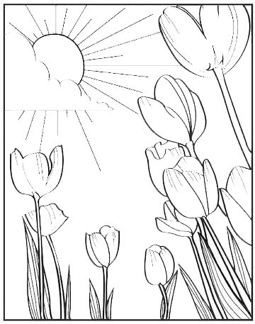 tulip withe sun scene background coloring page