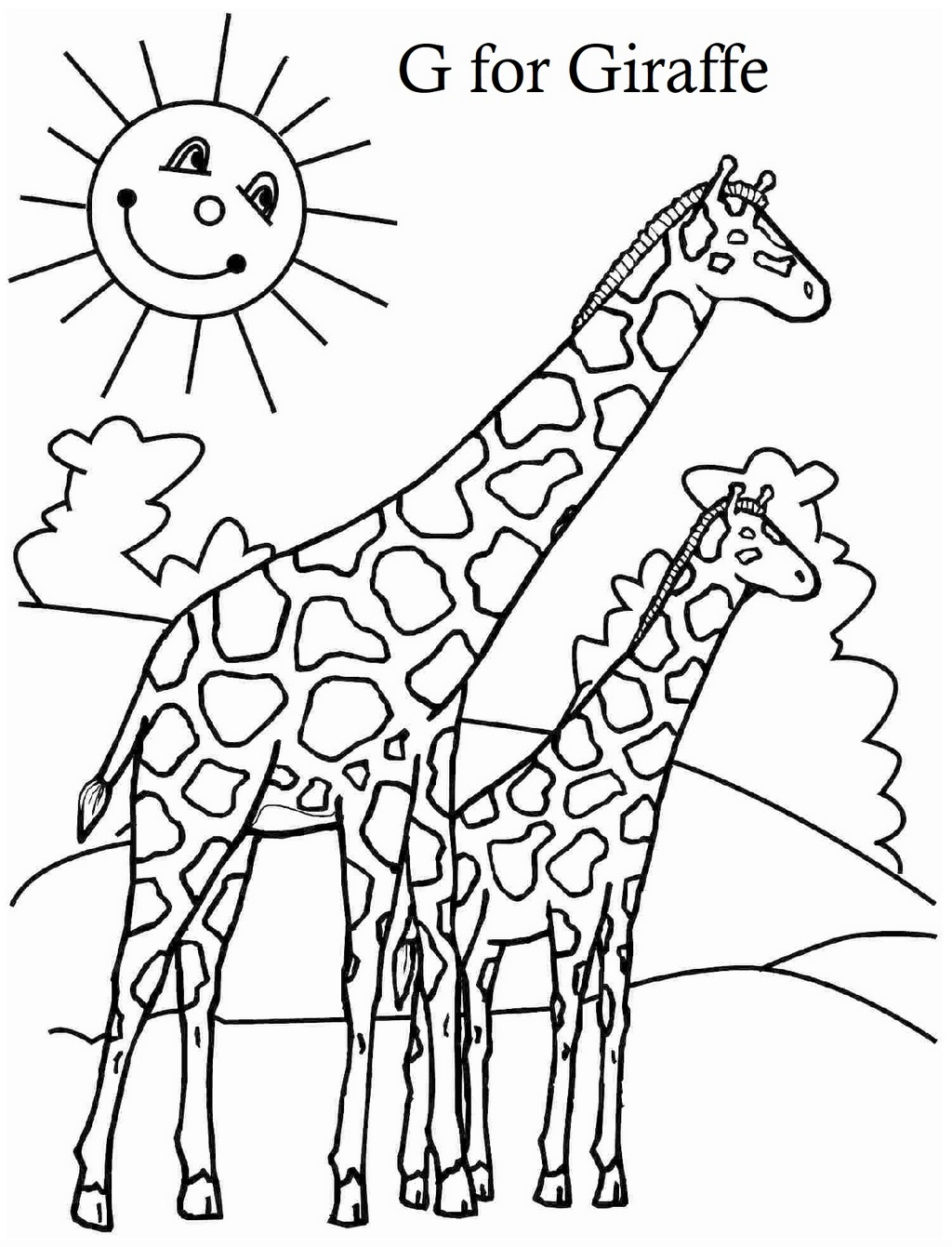 G For Giraffe A To Z Alphabet Coloring Picture