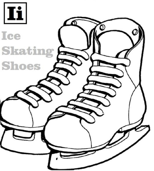 Letter I for Ice Skating Shoes Coloring Page
