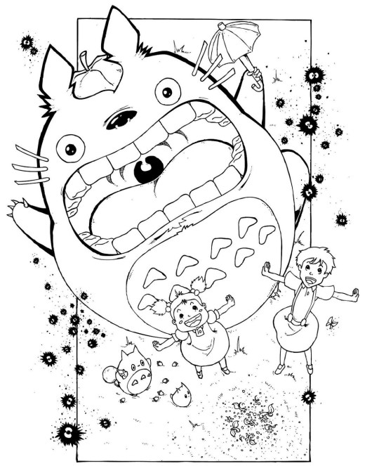 My Neighbor Totoro Anime Coloring Sheet for Kids