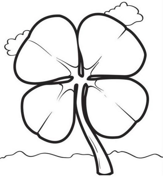 St Patrick shamrock coloring and drawing page