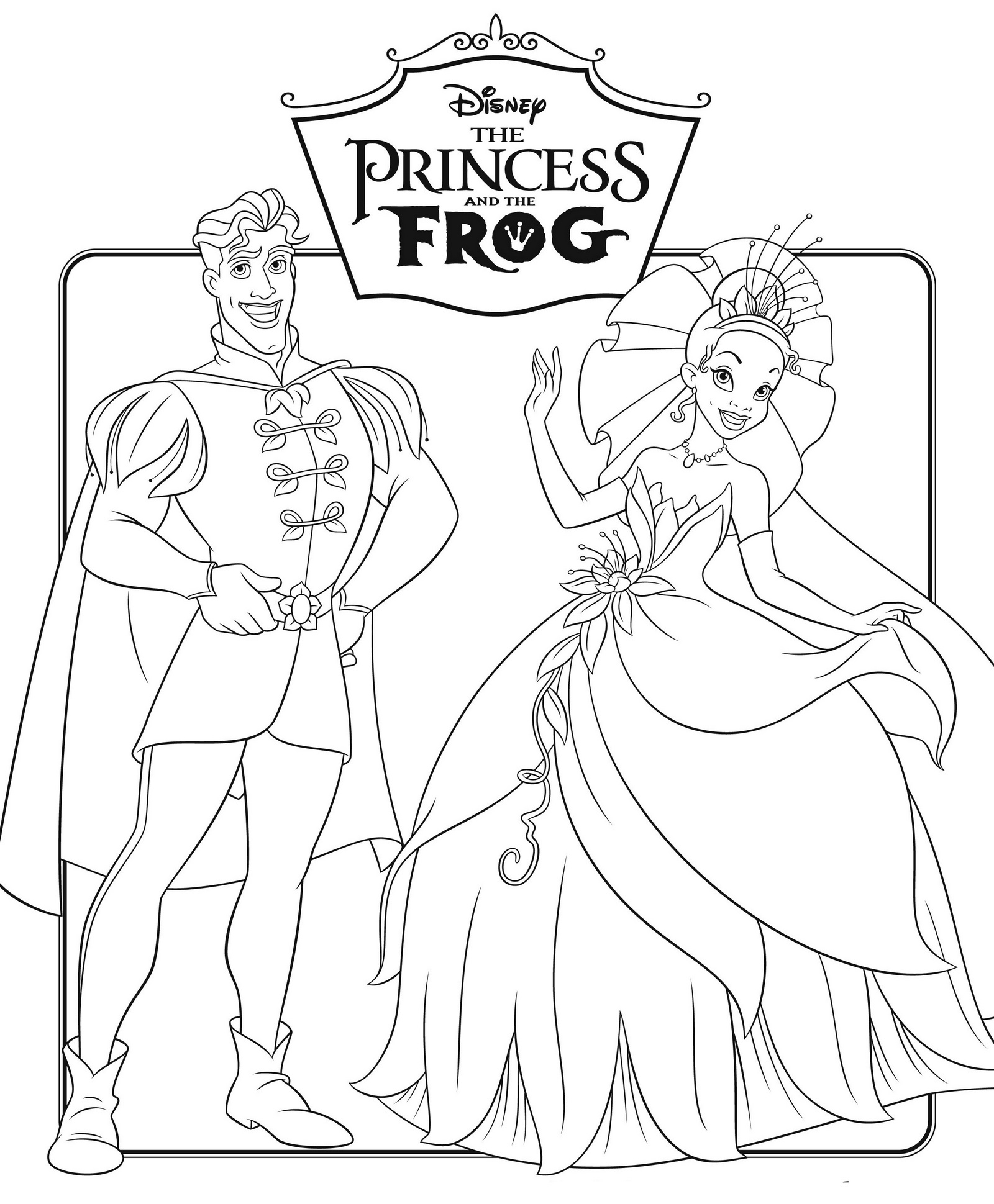 Tiana and Naveen The Princess and the Frog Disney Coloring Pages