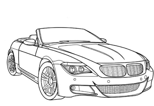 bmw car open roof coloring picture