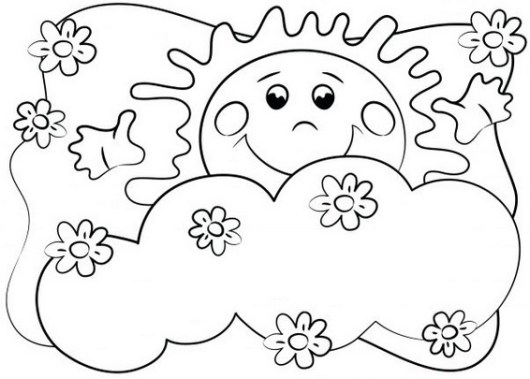 cute and smile sun coloring pages for early chilhood