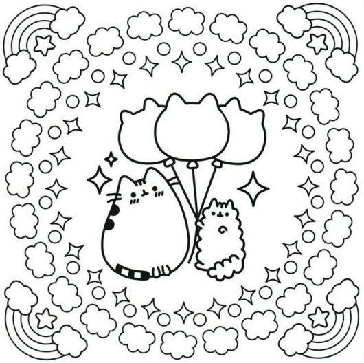 cute kawaii cat coloring sheet