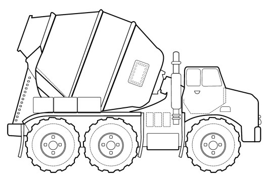 detailed cement truck mixer coloring book