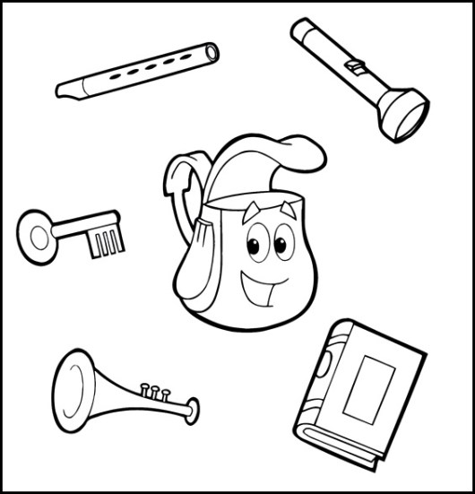 dora the explorers backpack coloring sheets