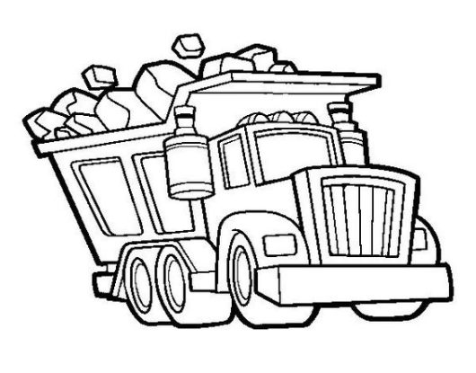 dump truck transporting material coloring book