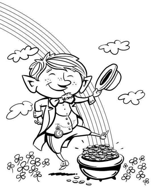 leprechaun dancing at the end of the rainbow coloring picture