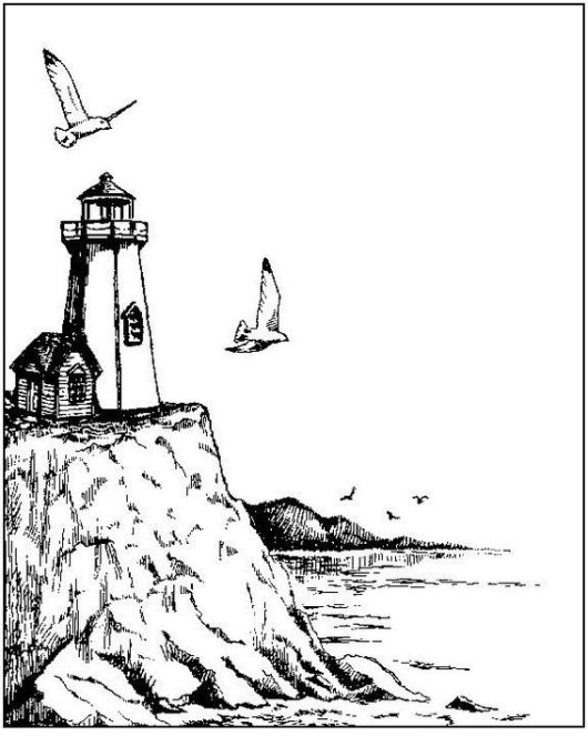 lighthouse coloring and sketch drawing page