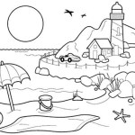 lighthouse with beach scenery coloring sheet