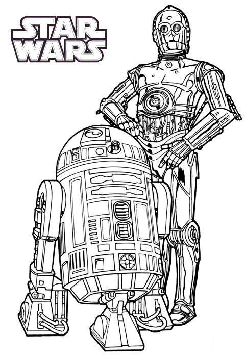 r2 d2 and c3po coloring star wars page printable