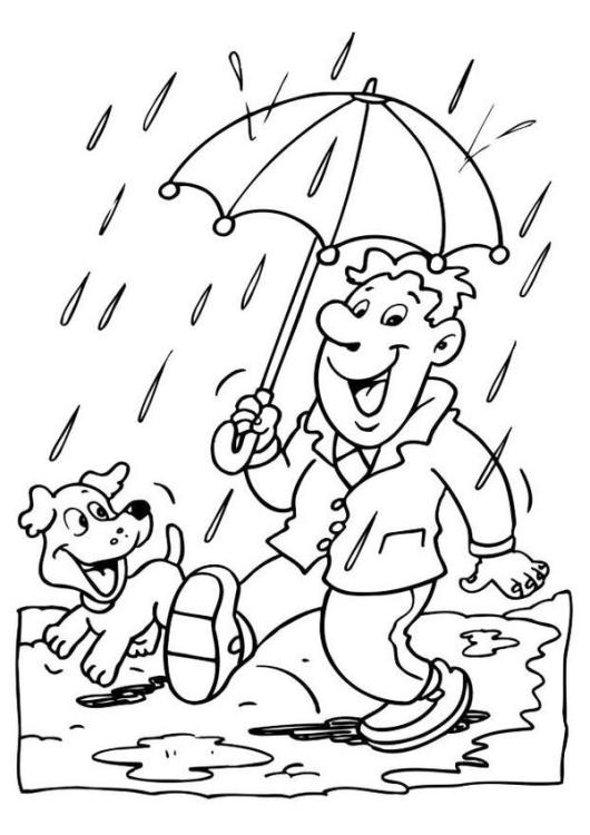 rainy day weather coloring pictures - Weather Coloring Pages