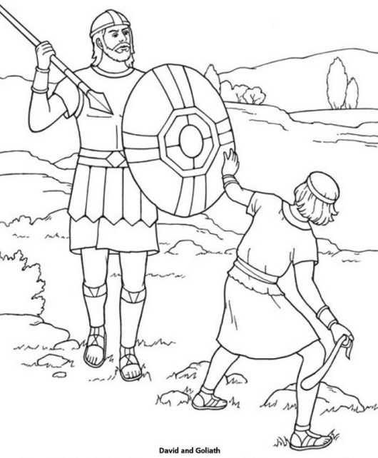 story of david and goliath coloring page