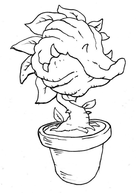 venus fly trap on pot coloring picture