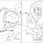 Appa and katara from Avatar Coloring Sheet Online