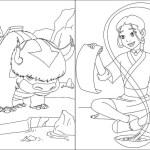 Appa and katara from Avatar Coloring Sheet Online