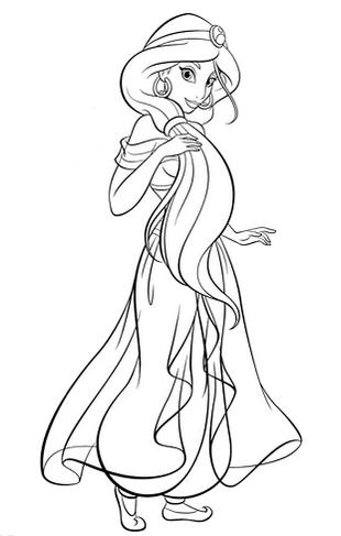 disney jasmine coloring pages. Beautiful Princess Jasmine Disney Coloring Page for Girls 8 Best Pages of the Aladdin Cartoon
