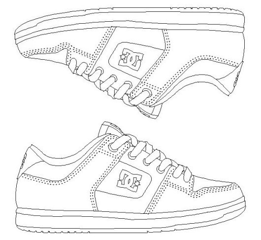 Cool and Epic DC Shoes Fashion Coloring Picture