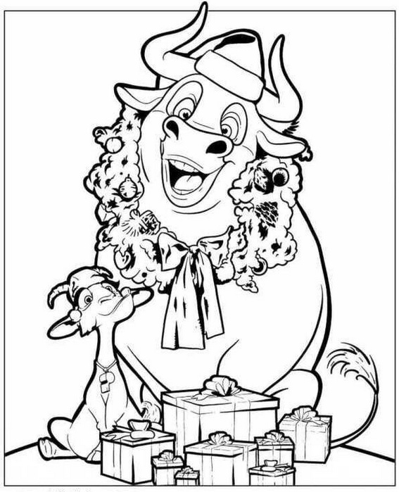 Ferdinand and Lupe receiving gifts coloring picture