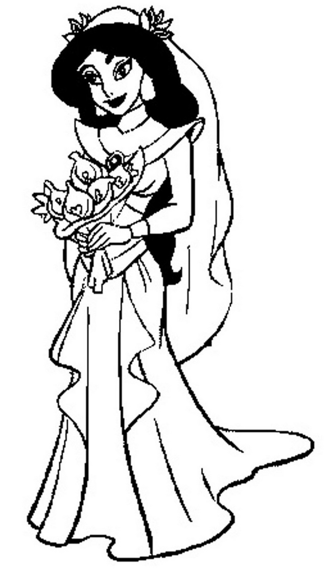 Jasmine Disney Wedding Dress Coloring Pictures