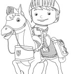 Mike the Knight and his horse Coloring Page