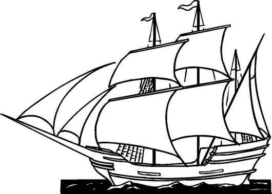 Realistic Sailboat coloring picture